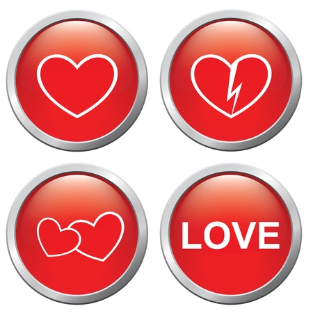 Set of buttons on the 3d of love and separation Stock Vector - 14652729