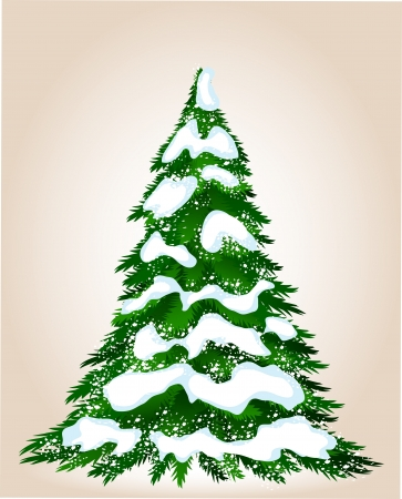 Christmas tree in winter, image for design Illustration