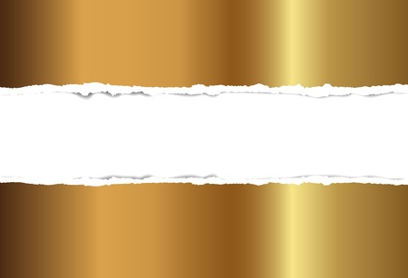 Gold torn paper, background for design Vector