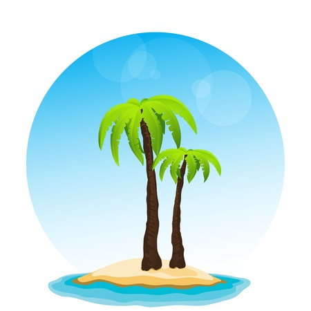 vector of palm tree in island on isolated blue sky and sunshine Vector