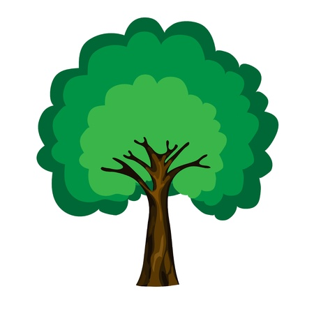 single tree: cartoon tree isolated on white background, vector
