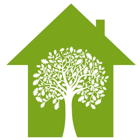 abstract house and green tree, vector image