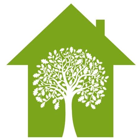 abstract huis en groene boom, vector afbeelding