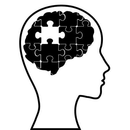 migraine: Puzzle brain and silhouette head, vector image