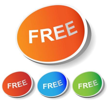 Conjunto de etiquetas de vectores gratis en diferentes colores Ilustración de vector