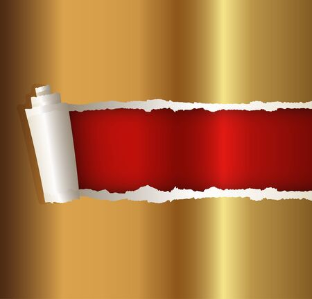 roll paper: torn paper gold color, suitable for a Christmas background