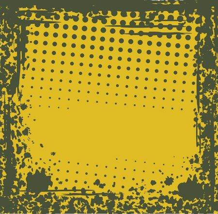 dirty yellow-green grunge background of the series of points and blots Vector