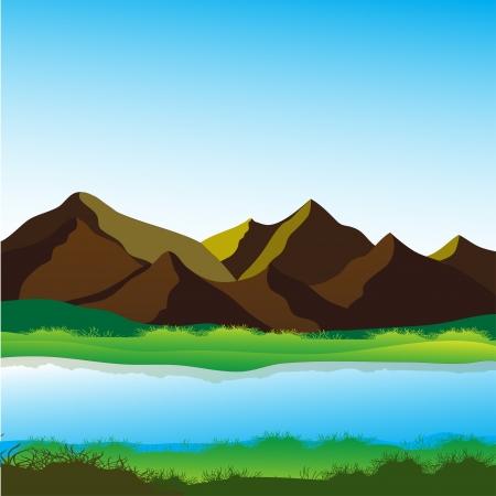 Bergen en de rivier, rustgevende landschap vector afbeelding
