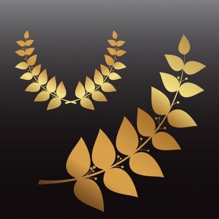 Set golden wreath and laurel branch, vector eps10