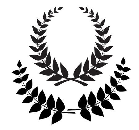laureles: Establecer corona de laurel negro y rama, vector de eps10