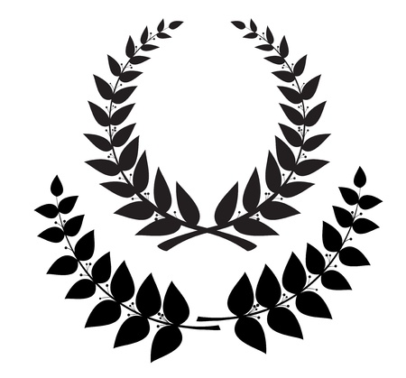 Set black wreath and laurel branch, vector eps10  Stock Illustratie