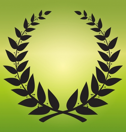 laurel branch: laurel wreath - a symbol of games, black on a beautiful green background