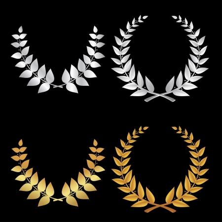 laurel leaf: La plata y el oro de los deportes Corona, s�mbolo de la victoria en el vector