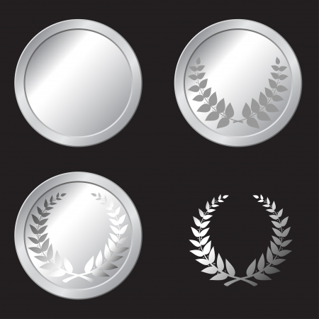 set of silver medals in the vector