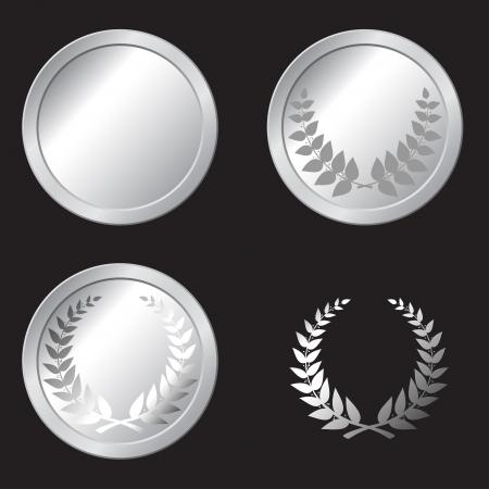 set van zilveren medailles in de vector Stock Illustratie