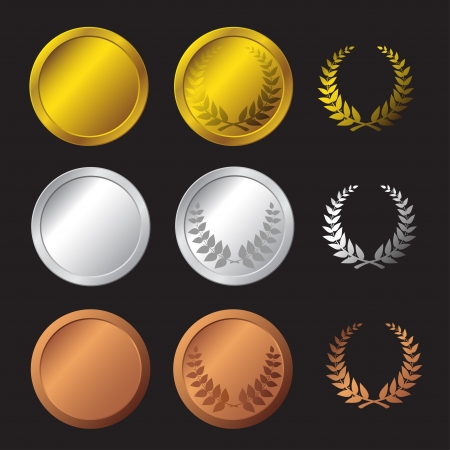 bronze medal: Three detailed vector medals - gold, silver and bronze  Illustration