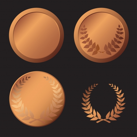 Realistic bronze medal isolated objects over  black background  Stock Vector - 14737901
