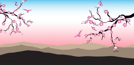 Blossoming cherry tree branch against a mountain Vector
