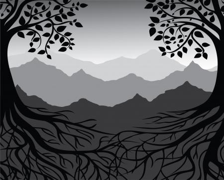 arbol de la vida: Poder y raíces de árbol Negro y blanco, montaña