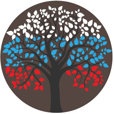 russian federation: Styling of the flag of the Russian Federation of the branches and leaves of the tree, red, blue, white Illustration