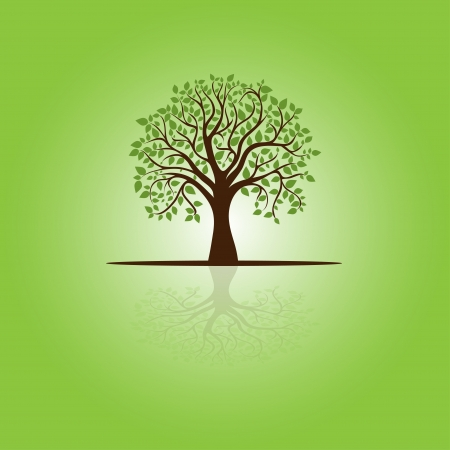 square root: card with stylized tree and text, image for design