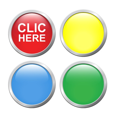3d button: Set vector button  click here  on white background