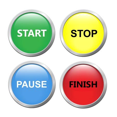 Start, stop, pauze, afwerking knoppen, geïsoleerd op een witte