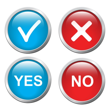 yes: 3D button Yes and No, vector image