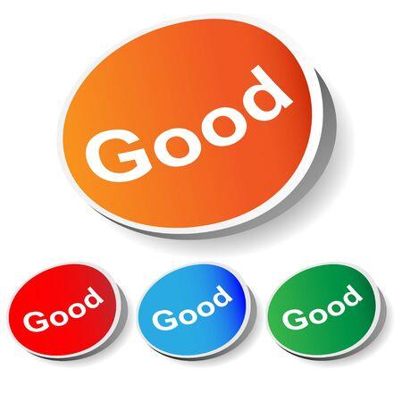 stiker: Set vector stiker  good  text  orange, red, blue, green