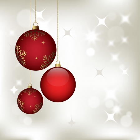 christmas background with baubles, vector for design Illustration