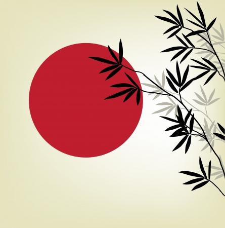 japones bambu: ramas de bambú en un fondo del sol rojo