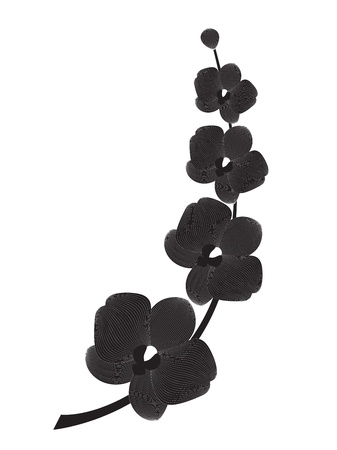 flower silhouette: Orchid branch silhouette, vector illustration for design