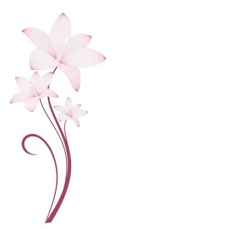 Stylized flowers gentle pink  Background for design Illustration
