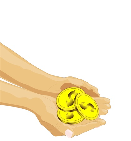 outstretched: outstretched arms with three coins, concept on poverty, vector