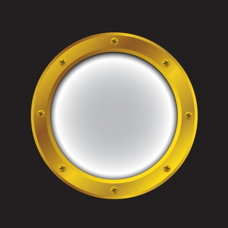 Vector illustration of a gold ship porthole isolated on black Vettoriali