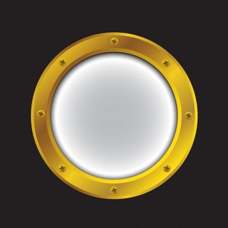 Vector illustratie van een gouden schip patrijspoort geïsoleerd op zwart