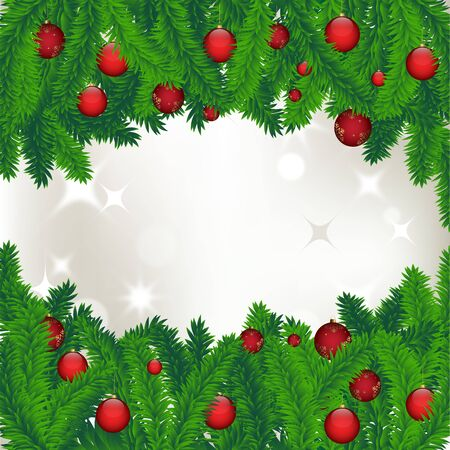 Christmas background with Christmas trees and balls Stock Vector - 14980020