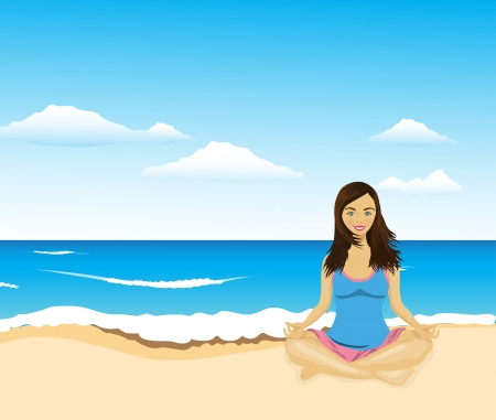 young woman doing yoga on the beach, vector Vector