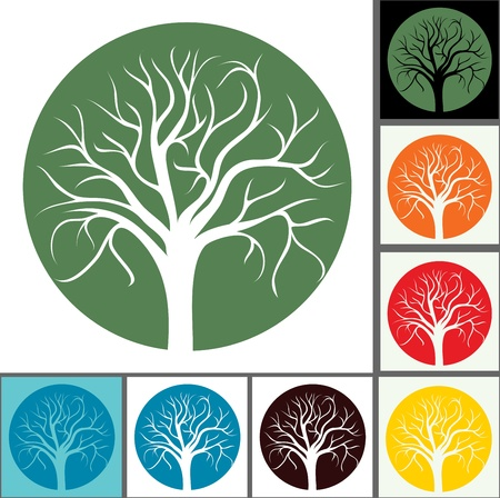 poplar: silhouettes of trees without leaves for seasons Illustration