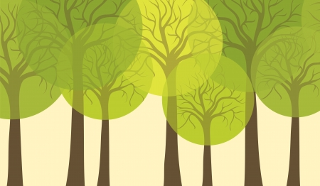 Stylized trees, card or background for design