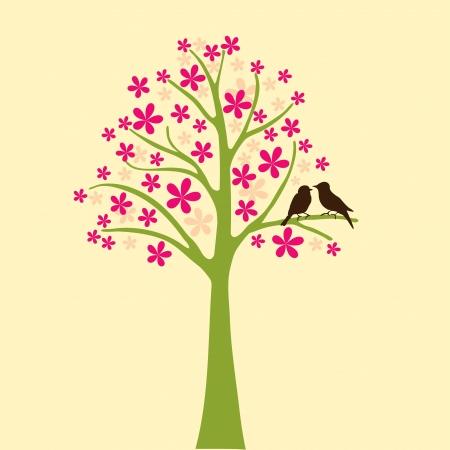 kaart met bloemen boom en liefde vogel