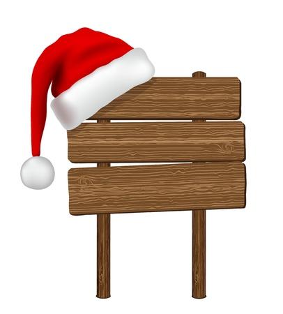 santa hat: wood sign Illustration