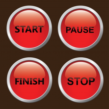 Set of red 3D button  Stock Vector - 16454174