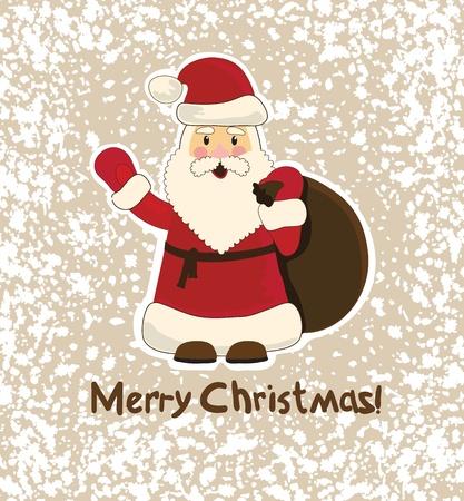 weihnachtsmann lustig: funny Santa Claus on witer Hintergrund, Weihnachtskarte Illustration