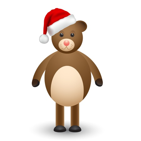babyish animal: Teddy bear in a santa hat,illustation