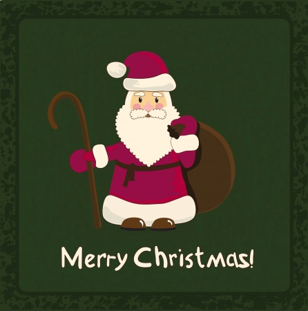 winter season: Christmas background, cartoon Santa Claus, vetor image