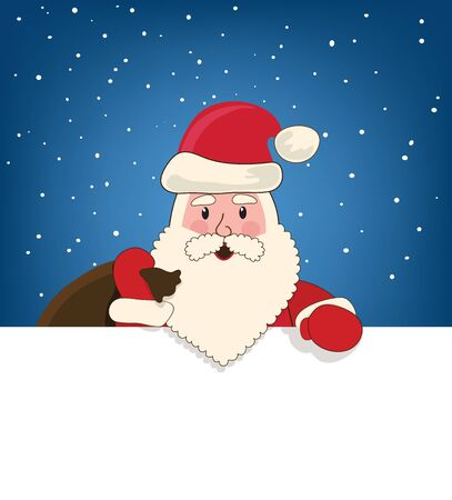 Santa Claus with a bag of gifts on a blue background, space for ads Stock Vector - 16688426