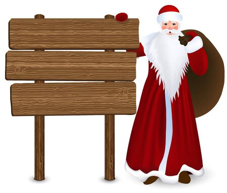 Winter holidays  Santa Claus with wooden sign  Vector Illustration Stock Vector - 16708969