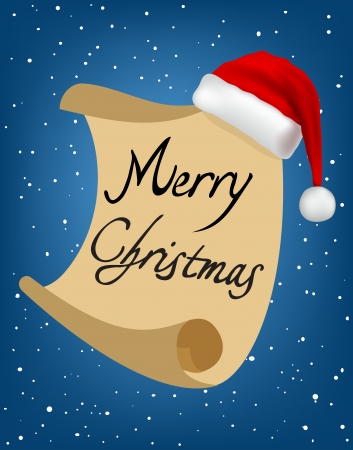 merry christmas text: Merry Christmas text on paper with Santa Claus hat