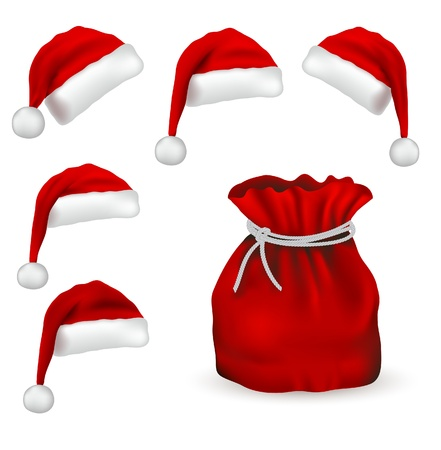 christmas santa: Christmas simbol set isolated on white bacground